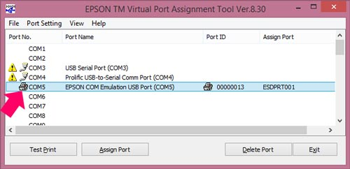 the virtual port utility lets you choose which available usb virtual com port you want to map the printer to