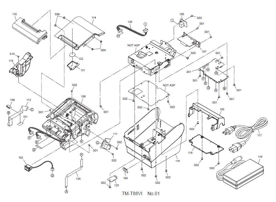Epson TM-T88VI Printer Part (TM886X)